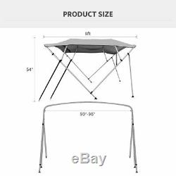 Waterproof Sunproof 4 Bow 8 ft Bimini Top for Boats with Beam Width 90 to 96