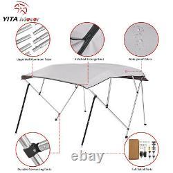 YITAMOTOR 4 Bow Bimini Top Canopy Boat Roof Cover Sun Shade with Rear Pole Gray