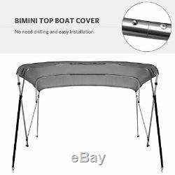Yitamotor Bimini Top Boat Cover 4 Bows 8 ft Long 67-72 Wide With Rear Poles
